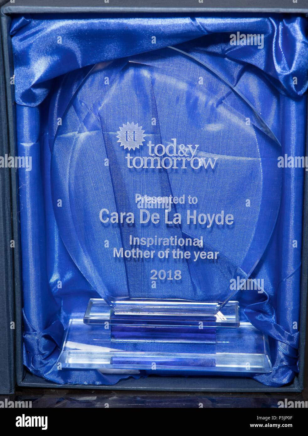 Cara de la Hoyde collects award from Charity 'Today and Tomorrow' for Inspirational Mother of the Year. Nathan Massey attended the event to support her  Featuring: Award Where: London, United Kingdom When: 18 May 2018 Credit: Phil Lewis/WENN.com - Stock Image