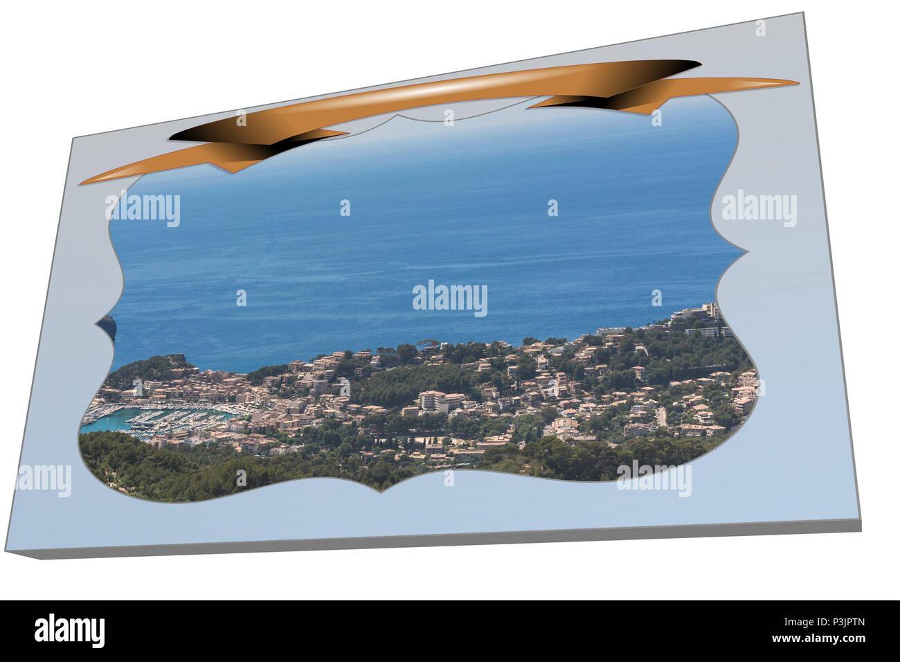 Postcard in 3D from Puerto de Soller in the mountains of the Serra de Tramuntana - Stock Image