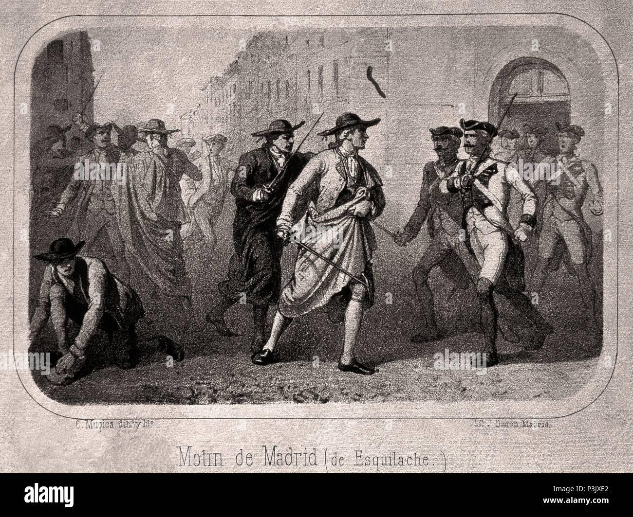 GRABADO-MOTIN DE ESQUILACHE EN LA PRIMAVERA DE 1766. Location: MUSEO DE  HISTORIA-GRABADOS BLANCO Y NEGRO, SPAIN.