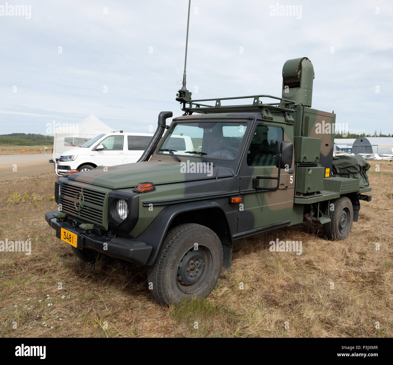Modular Sensor Platform MSP 600 mounted on a Mercedes 4WD vehicle, integrated with the NASAMS 2 surface-to-air missile system of the Finnish Army. - Stock Image