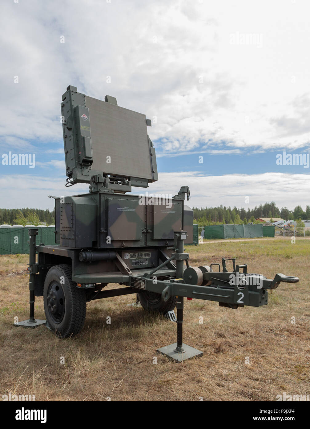 AN/MPQ-64F1 Sentinel 3D radar integrated with the NASAMS 2 surface-to-air missile system of the Finnish Army. - Stock Image