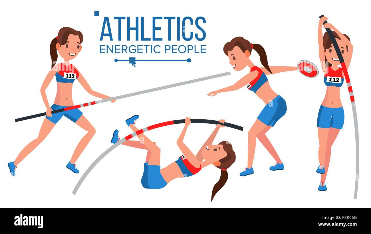 Athletics Female Player Vector. Win Concept. Various. Race Competition. Hurdle long Jump. In Action. Cartoon Character Illustration Stock Vector