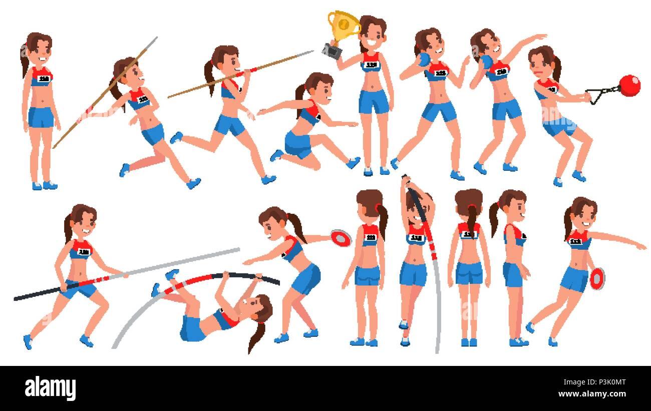 Athletics Girl Player Female Vector. Athletic Sport Competition. Sports Equipment. Sprinter. Sprint Start. Cartoon Athlete Character Illustration Stock Vector