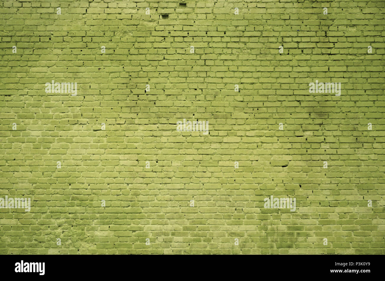 The texture of the brick wall of many rows of bricks painted in ...