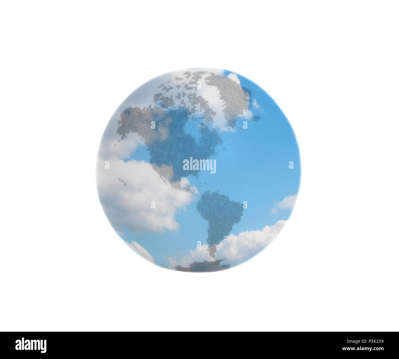 Earth Globe with blue sky with clouds isolated on white background - Stock Image