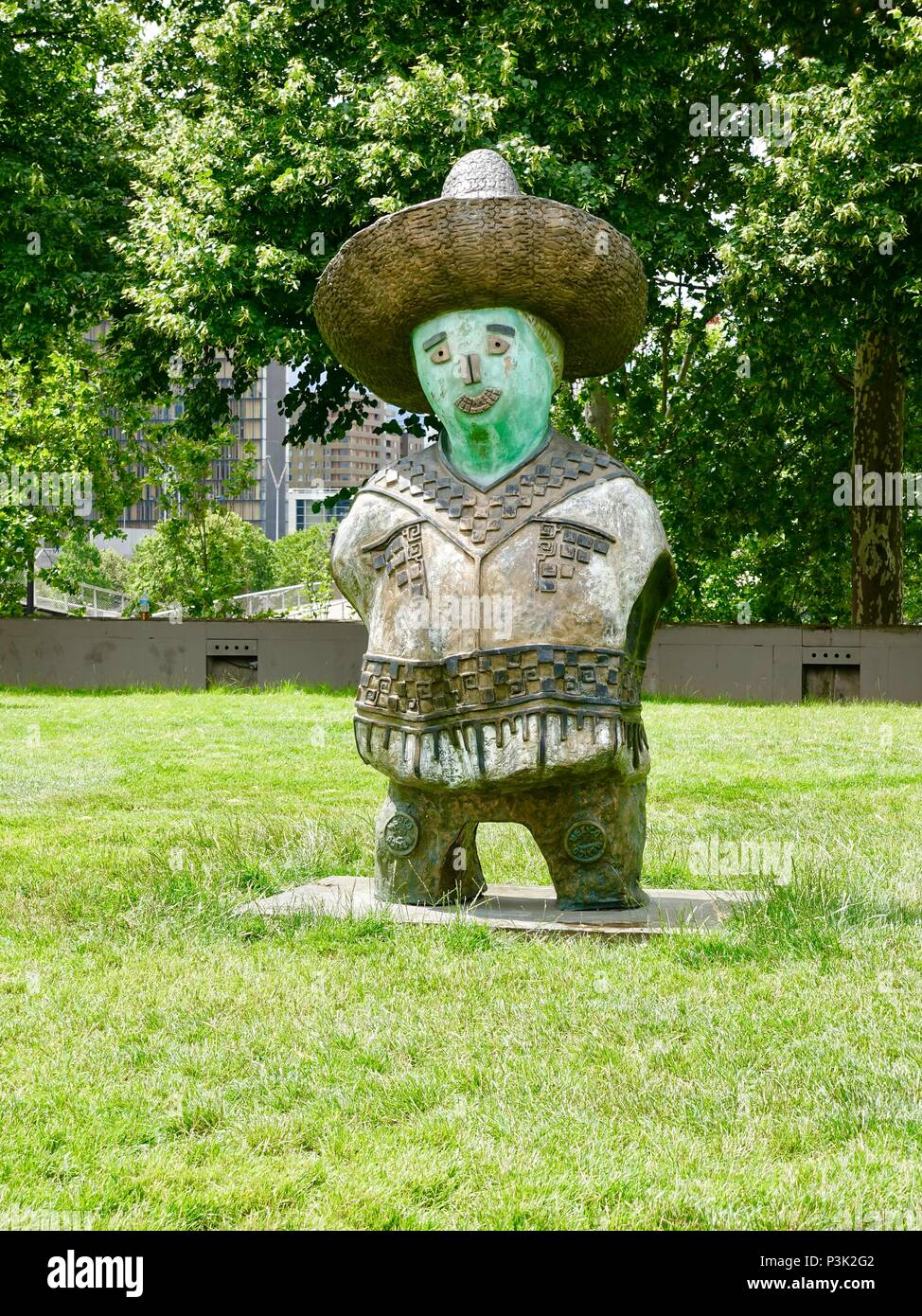 One of Rachid Khimoune's statues from the piece, 'Children of the World.' This one represents the country of Mexico. Bercy Park, Paris, France - Stock Image