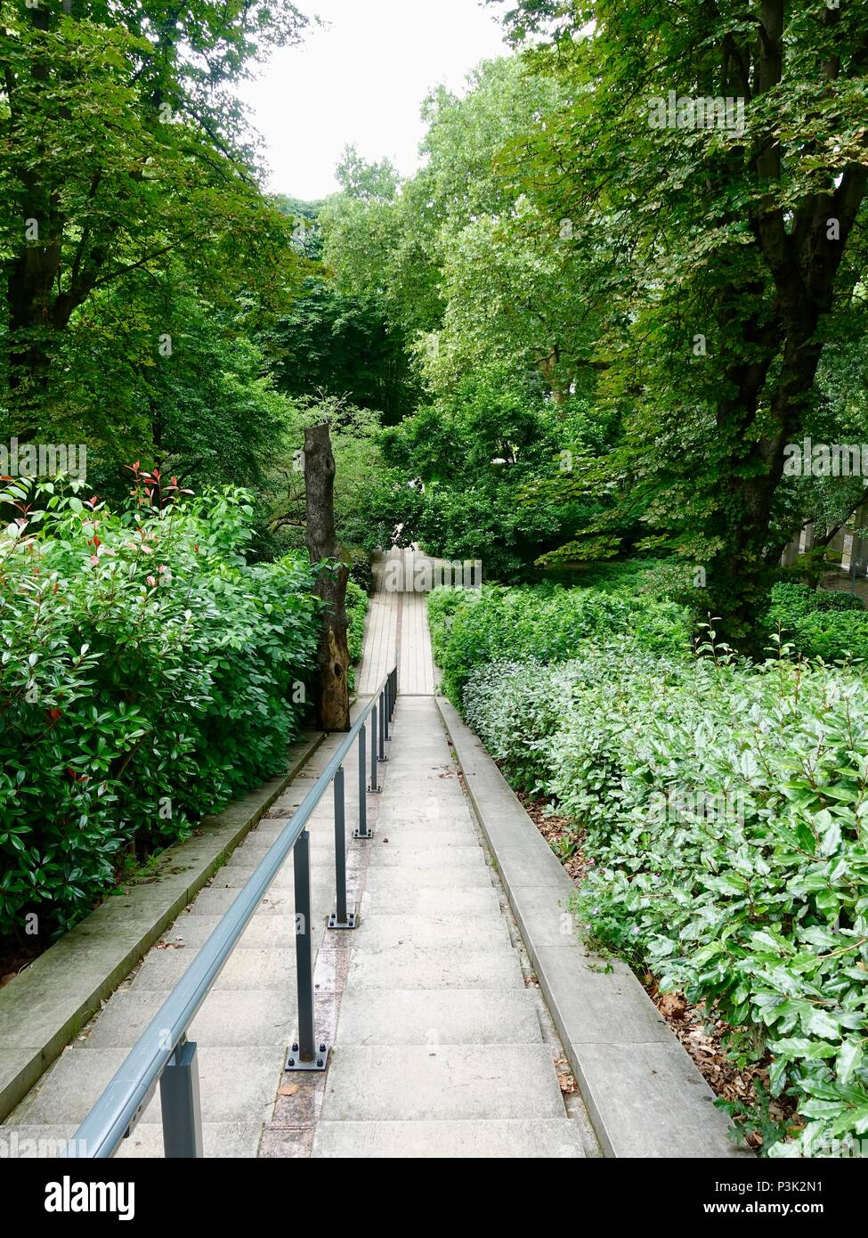 Looking down stairs towards the north side of Bercy Park, Paris, France - Stock Image