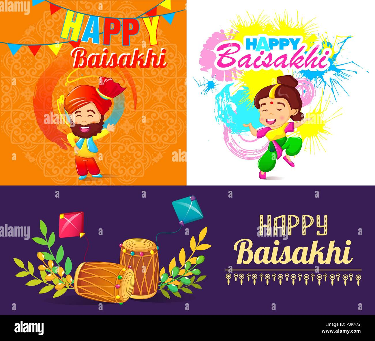 Baisakhi festival harvest banner set cartoon style - Stock Vector