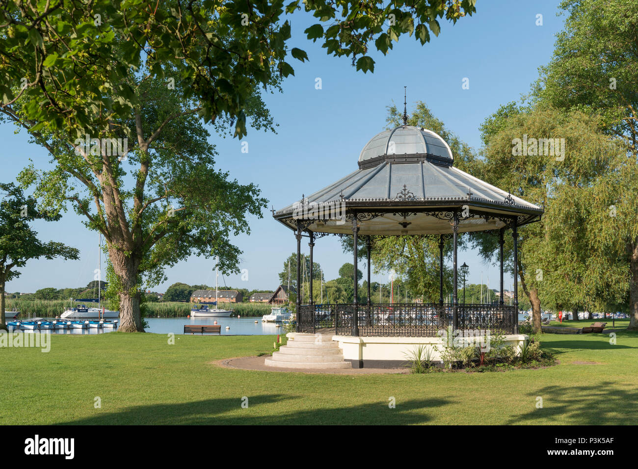 A bandstand in The Quomps area of Christchurch, Dorset, UK. - Stock Image