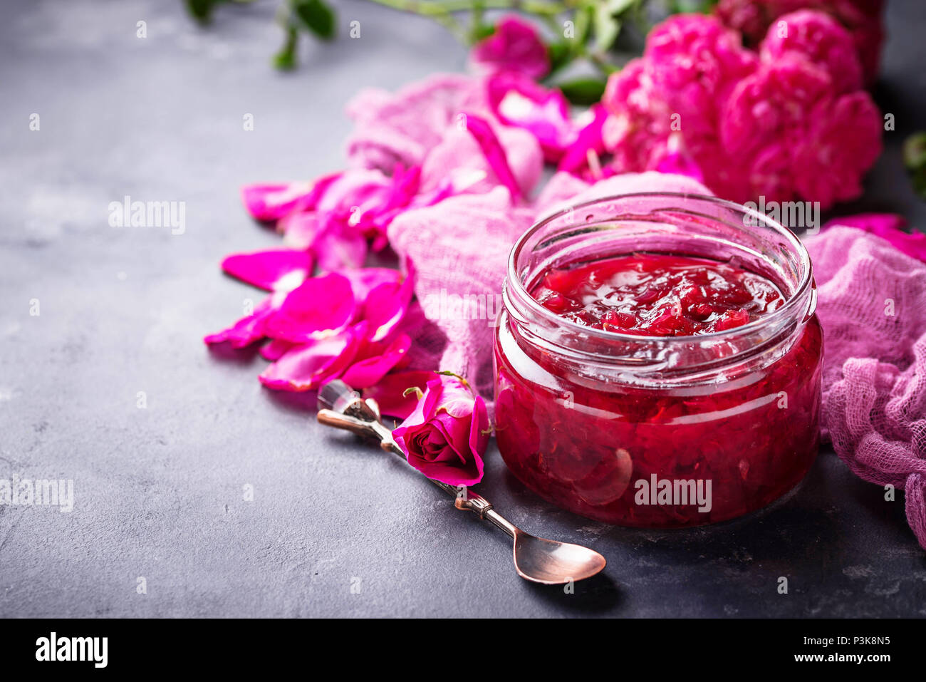 Homemade jam of rose petals  - Stock Image
