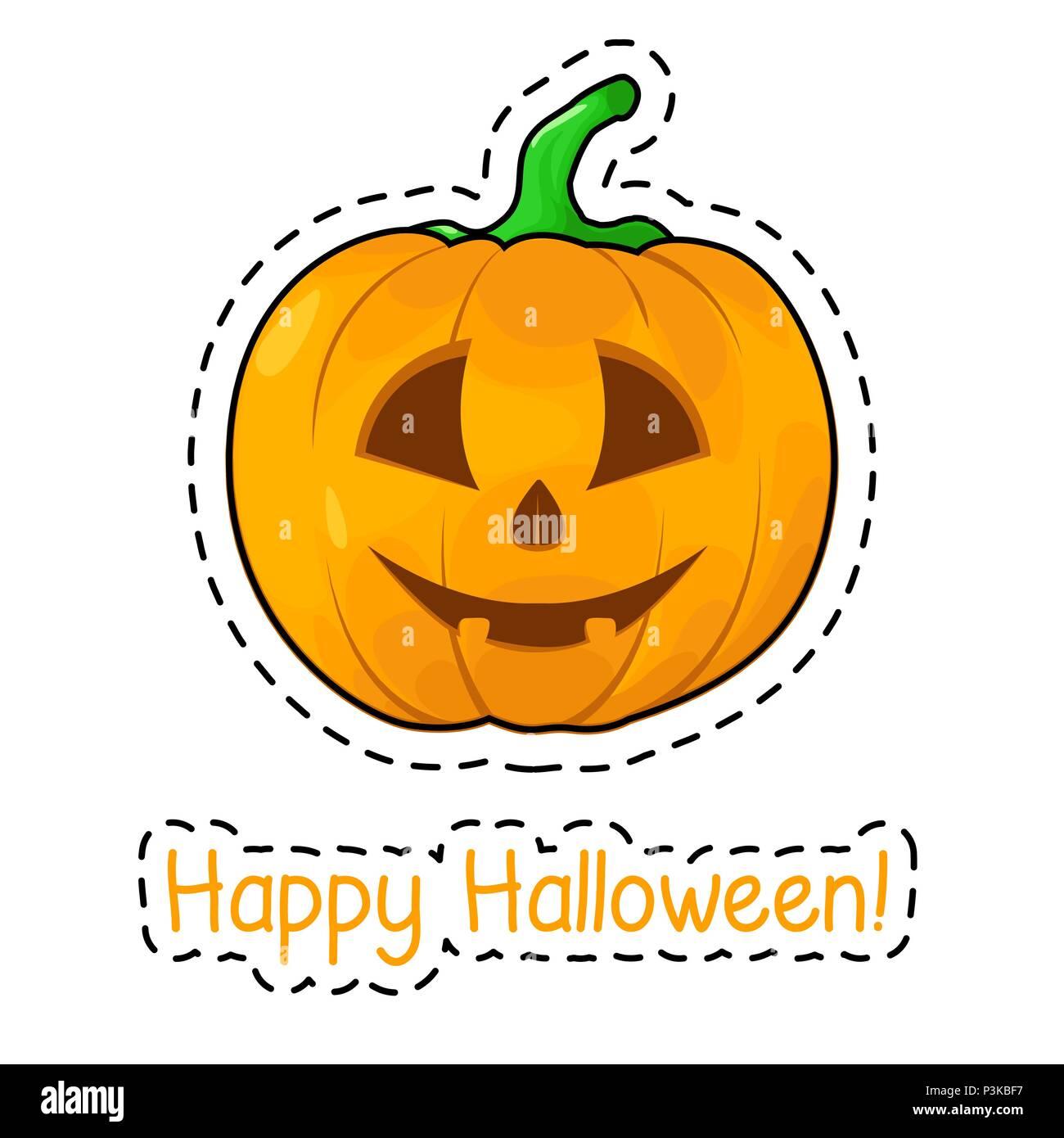 Sticker Halloween Pumpkin Happy Halloween Vector Illustration Stock Vector Image Art Alamy