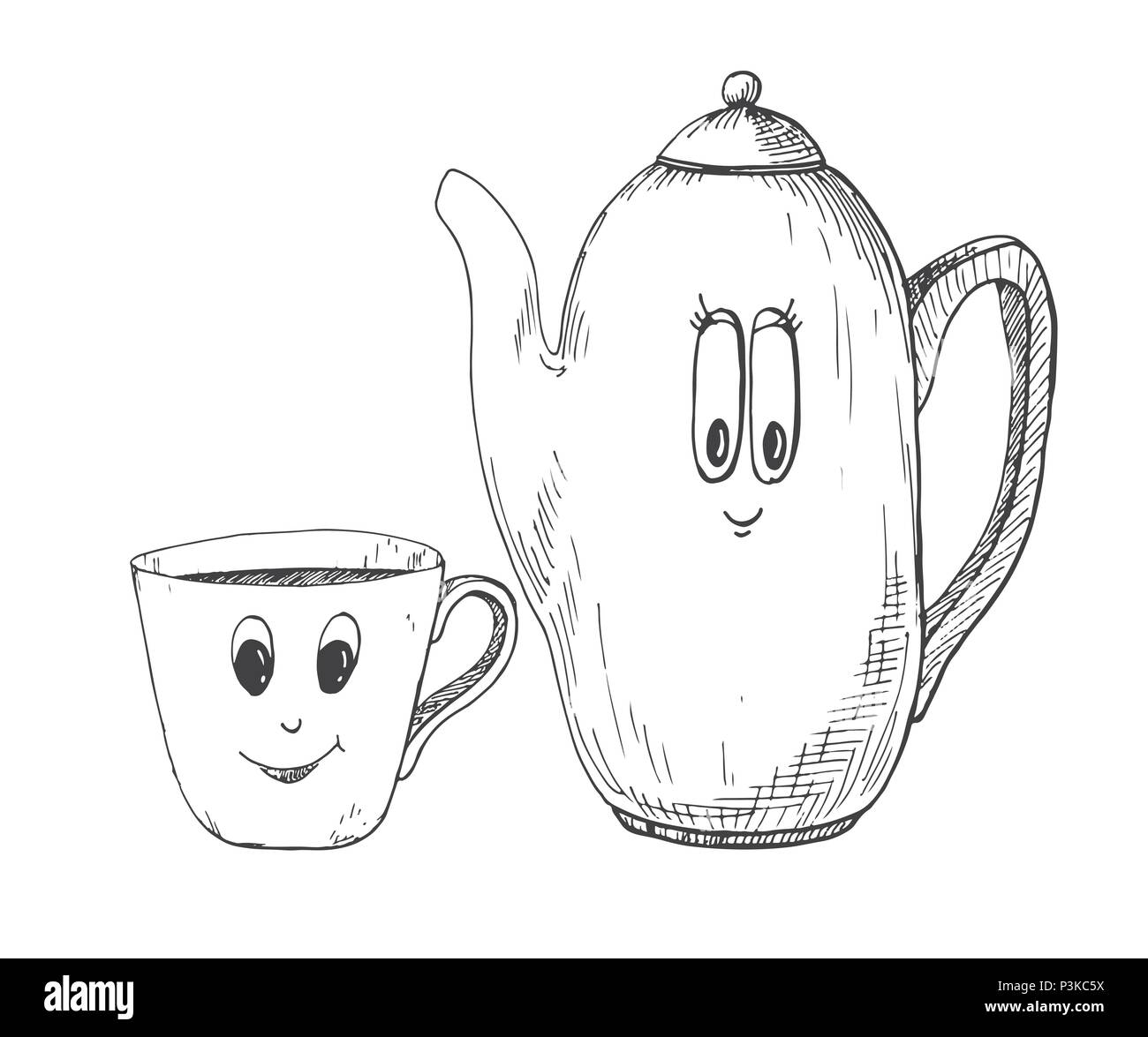 Hand drawn kettle and a mug in the cartoon style. Vector illustration of a sketch style. Stock Vector