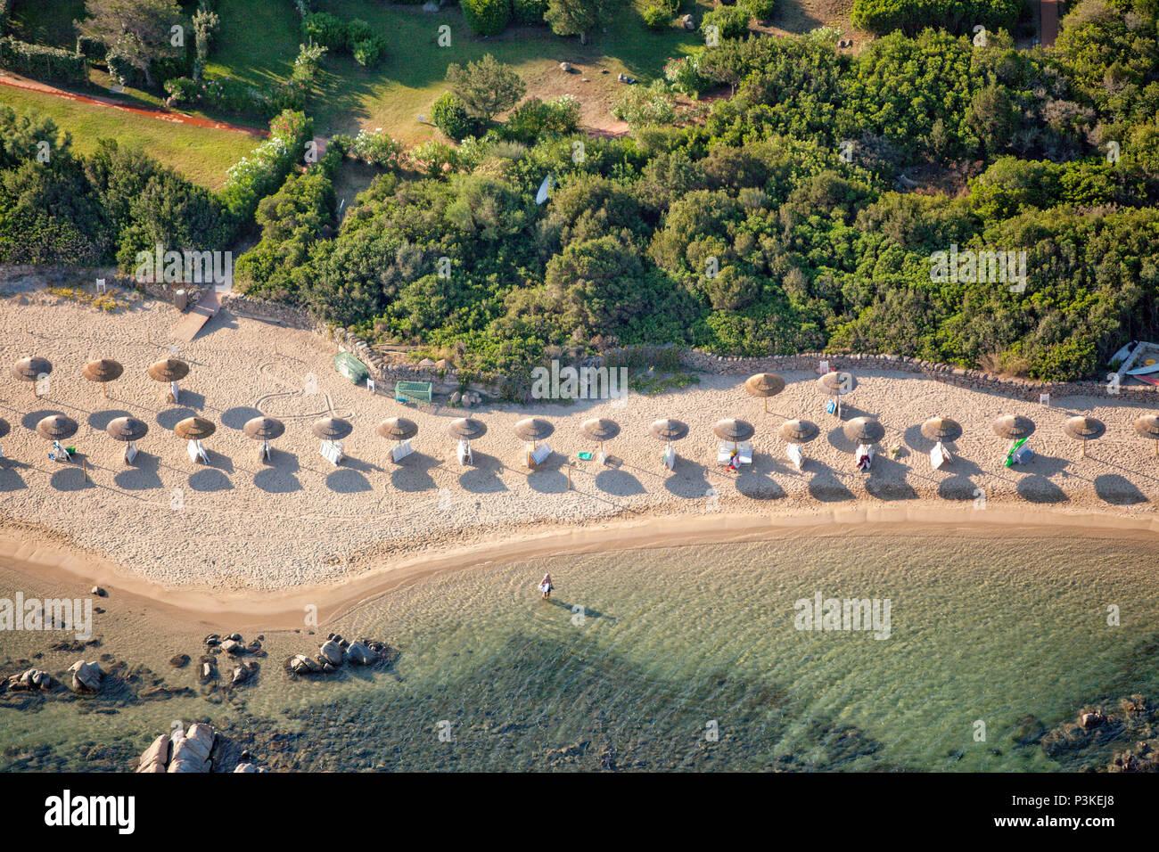 Aerial view of luxury beach resort on coast of Porto Rotondo ...