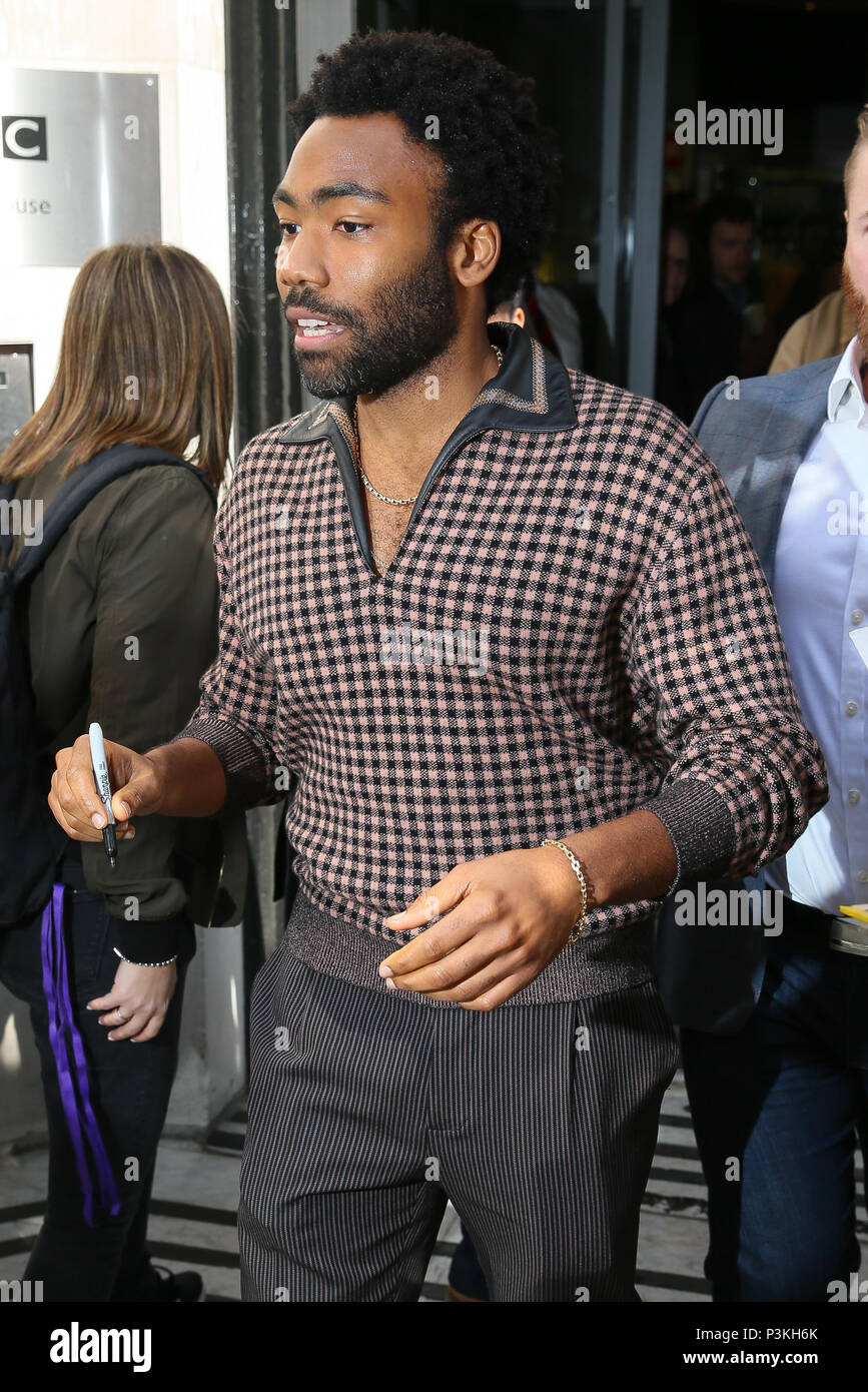 Star Wars Donald Glover and Alden Ehrenreich leaving BBC Radio Two studios after promoting the new 'Solo' - London  Featuring: Donald Glover Where: London, United Kingdom When: 18 May 2018 Credit: WENN.com - Stock Image