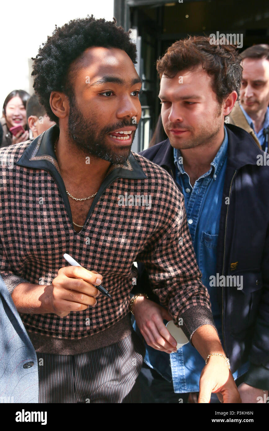 Star Wars Donald Glover and Alden Ehrenreich leaving BBC Radio Two studios after promoting the new 'Solo' - London  Featuring: Donald Glover, Alden Ehrenreich Where: London, United Kingdom When: 18 May 2018 Credit: WENN.com - Stock Image