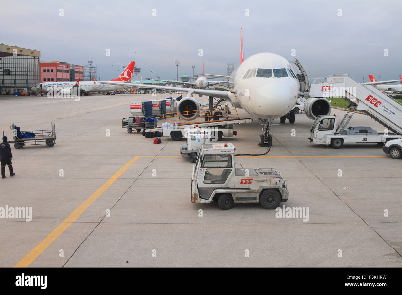 Service of plane at airport. Istanbul, Turkey - Stock Image