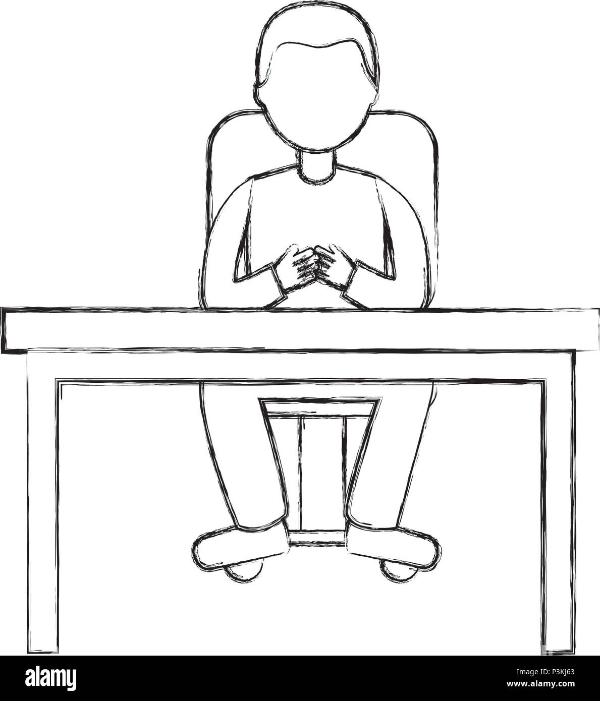 man sitting on chair and desk office vector illustration sketch Stock Vector