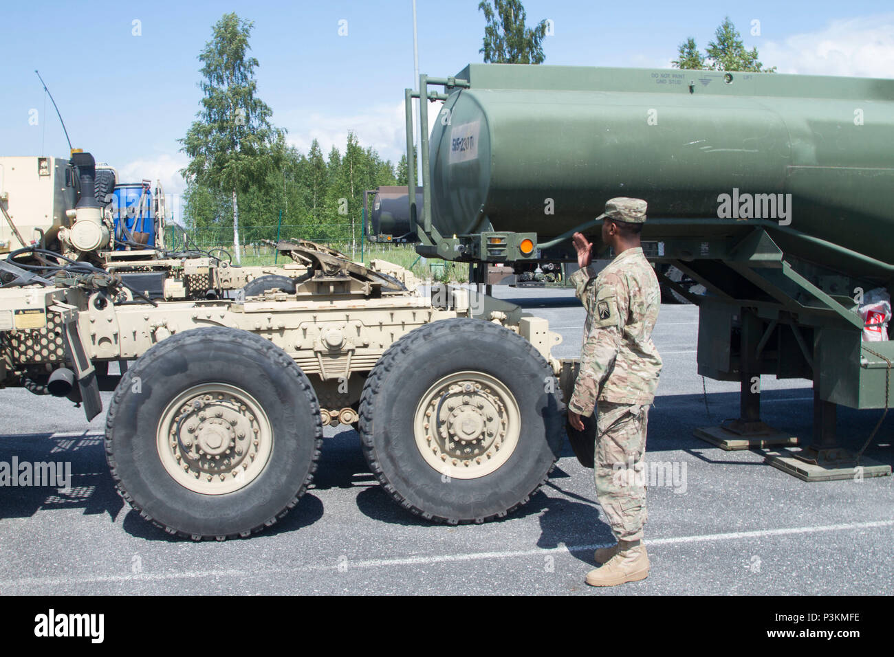 U S Army Spc Travontis Bell A Motor Transport Operator And A Native Of Macon Ga Assigned To The 515th Transport Co 39th Battalion 16th Sustainment Brigade 21st Theater Sustainment Command Directs A