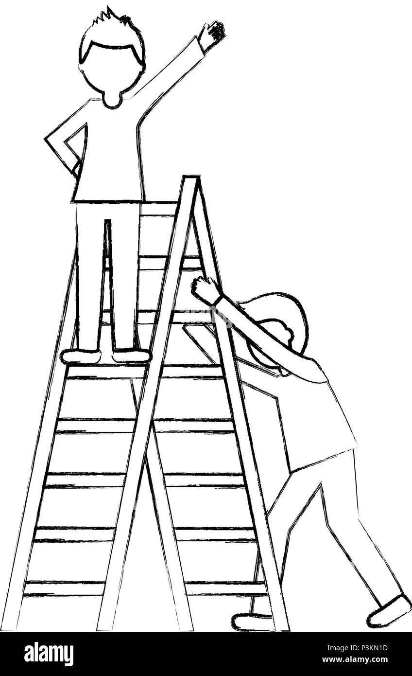 business people climbing stairs teamwork victory vector illustration
