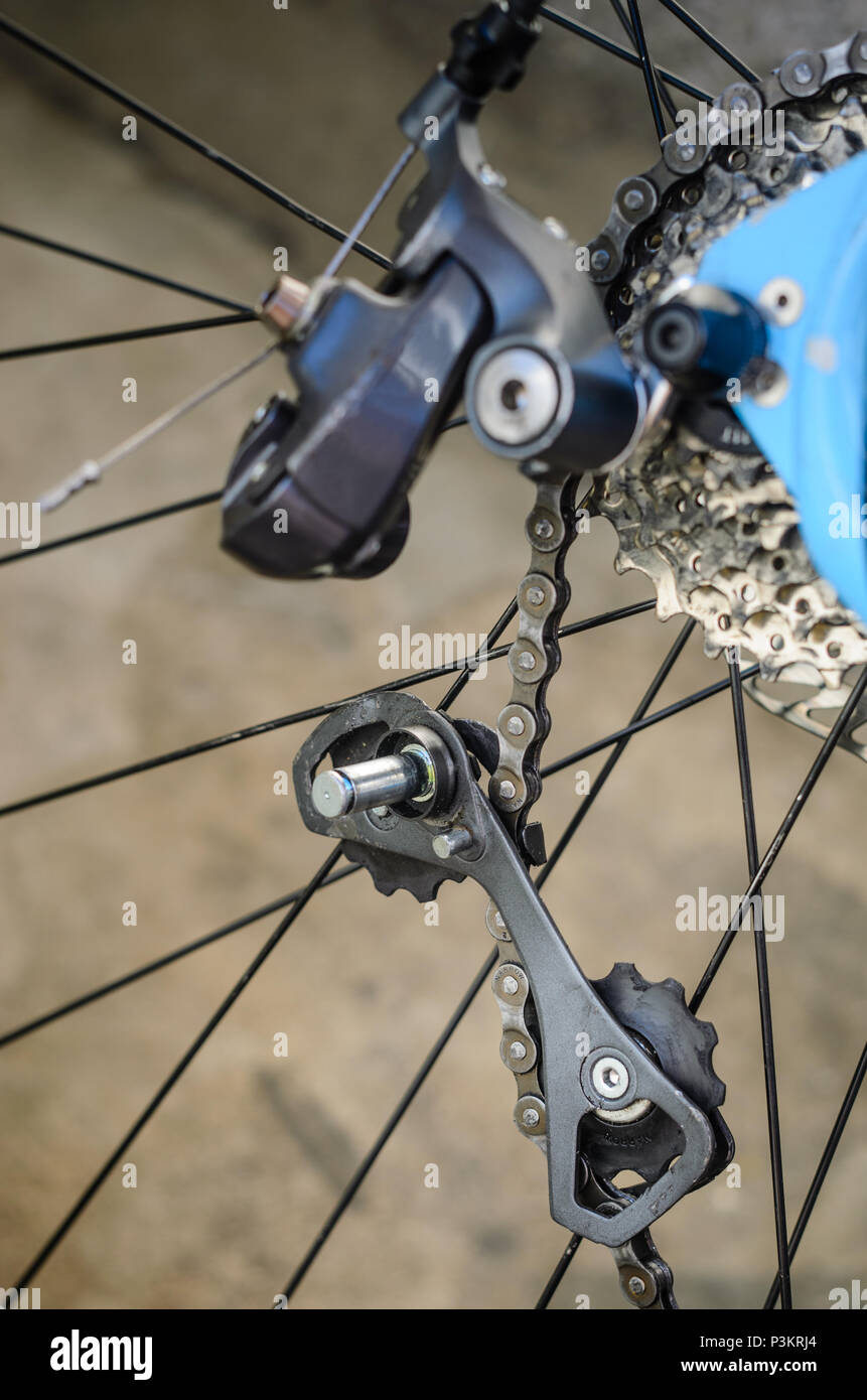 Rear Bicycle Derailleur Fell Apart in Half. Bicycle Rear Derailleur Foot is Detached from the Body. Unexpected Bike Failure. The Torn Off Derailleur F - Stock Image