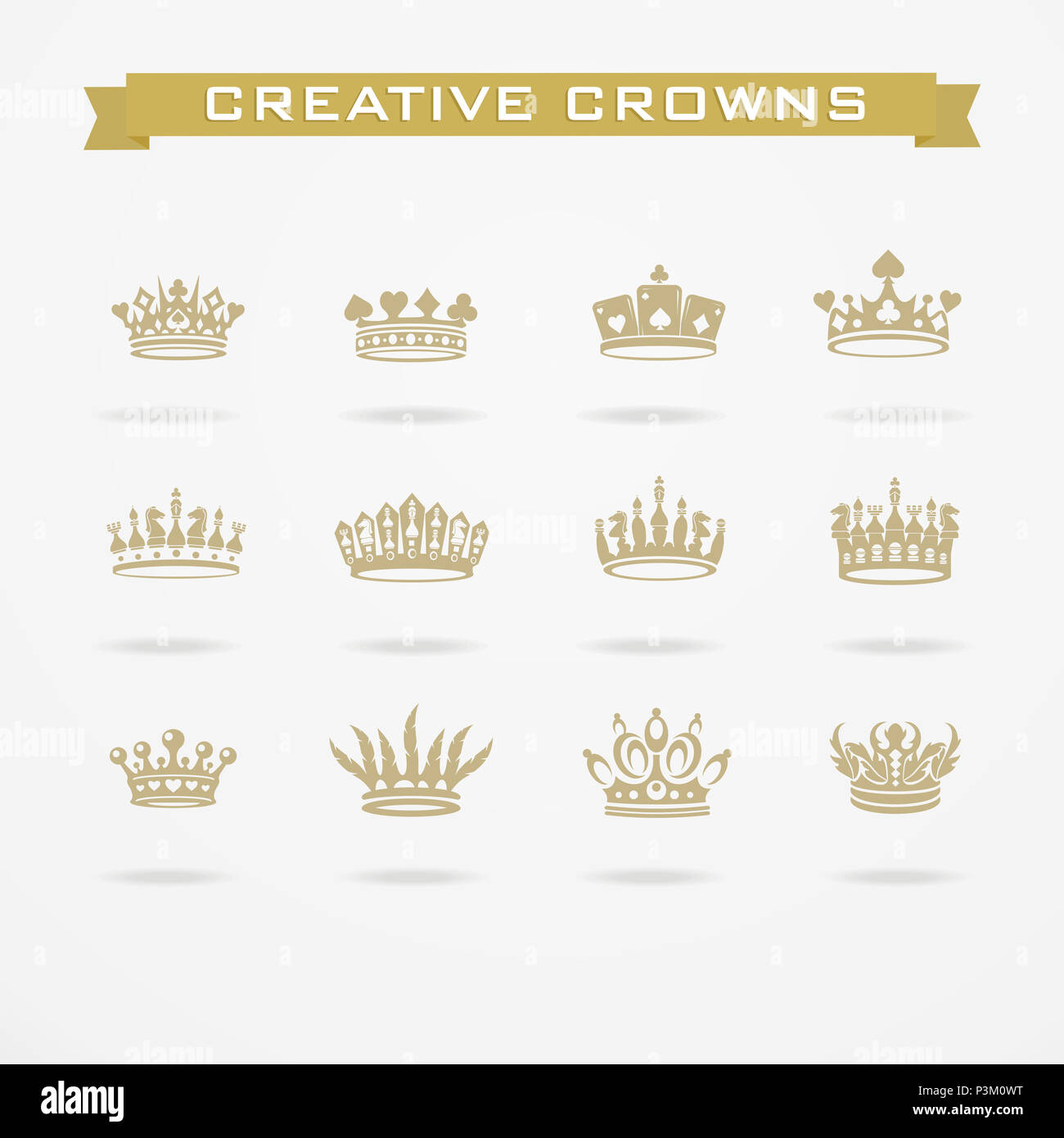 Vector Collection Of Creative King And Queen Crowns Symbols Or Logo