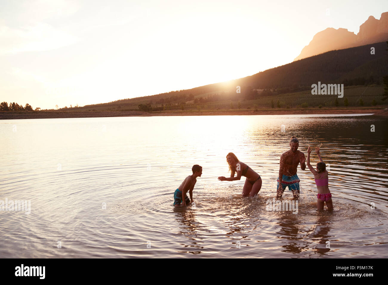 Family Enjoying Evening Swim In Countryside Lake - Stock Image