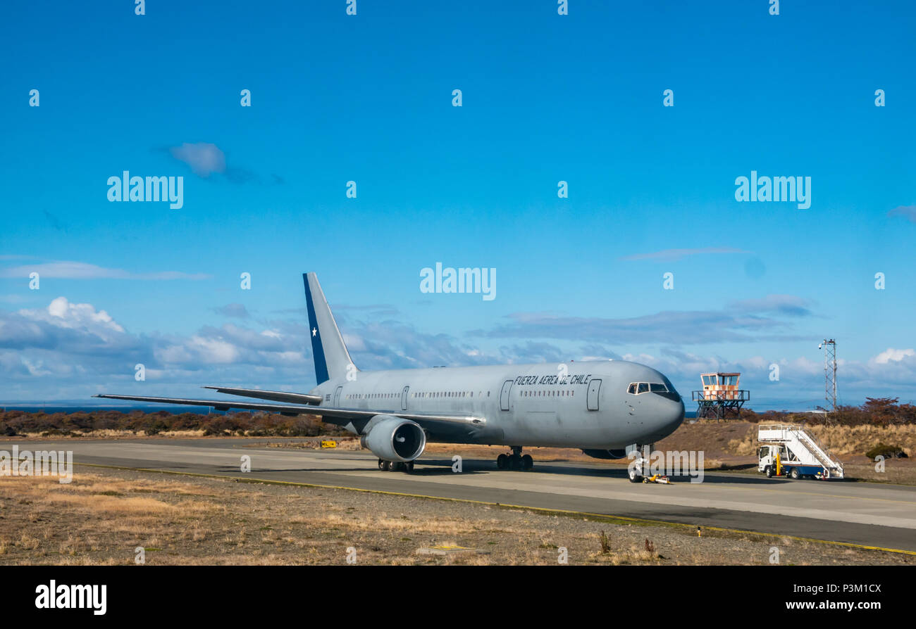 Chilean airforce military airplane on runway, Punta Arenas airport, Patagonia, Chile, South America - Stock Image