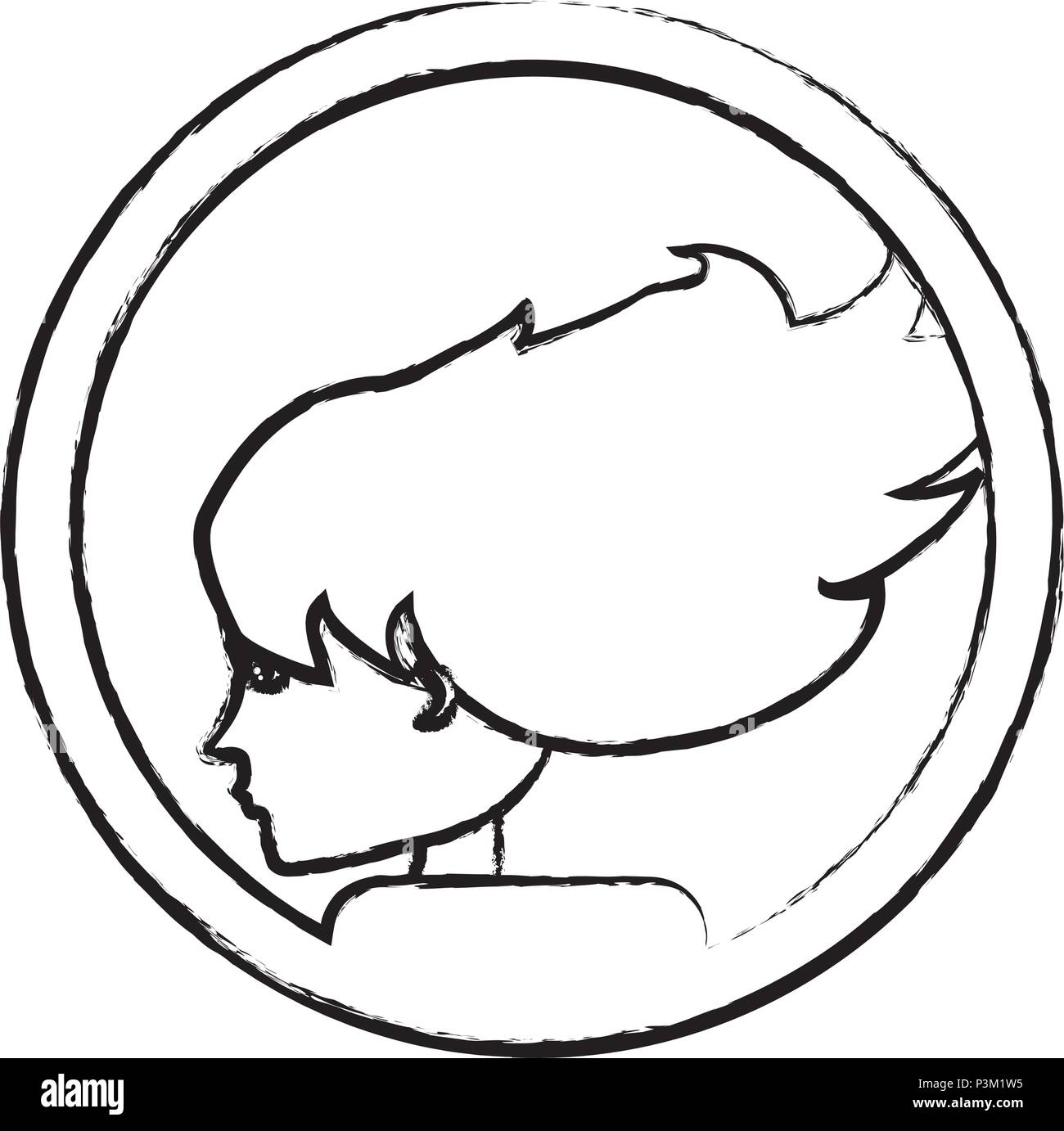 sketch of decorative circular frame with profile woman icon