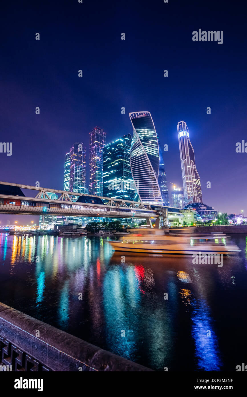 Modern Moscow City at night with illumination - Stock Image