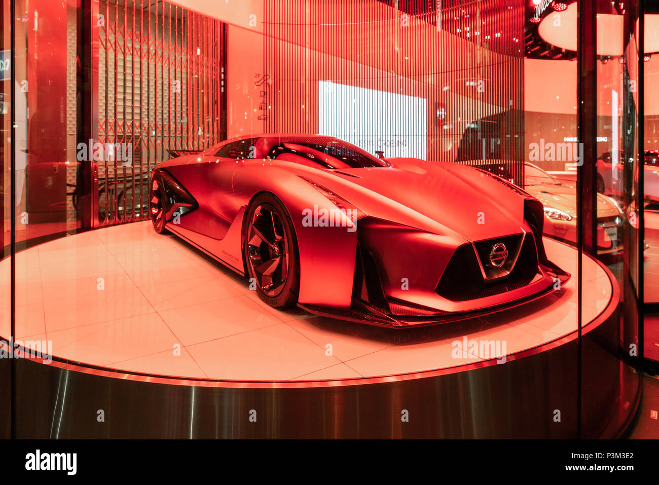 Nissan Concept sports car with red light - Stock Image