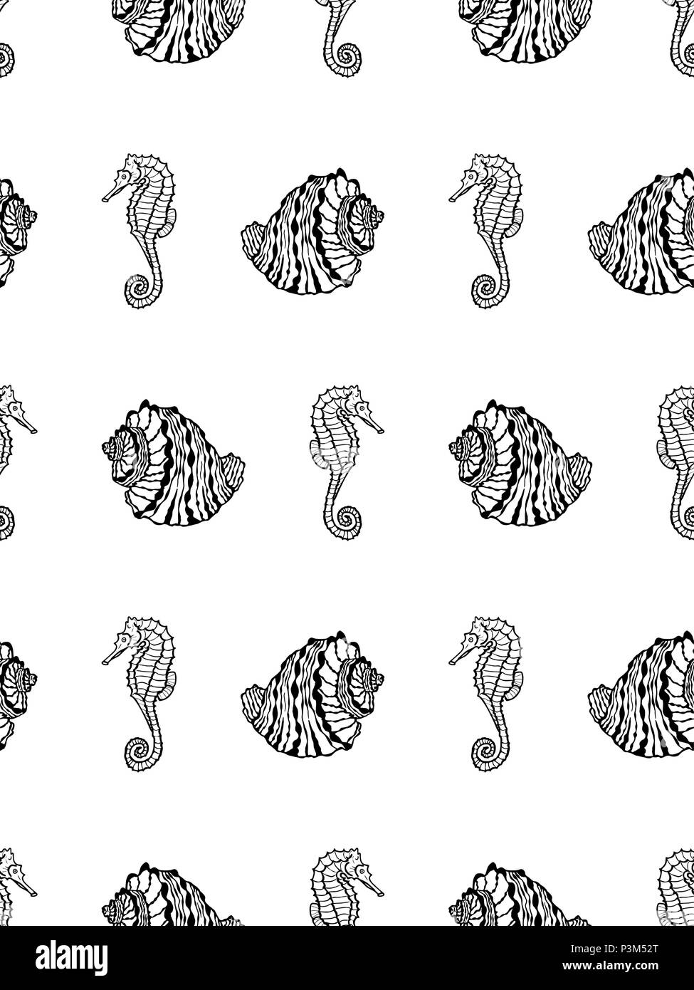 Vector Seamless Pattern Of Sketch Black Seashell And Seahorse On White Background Coloring Page Book