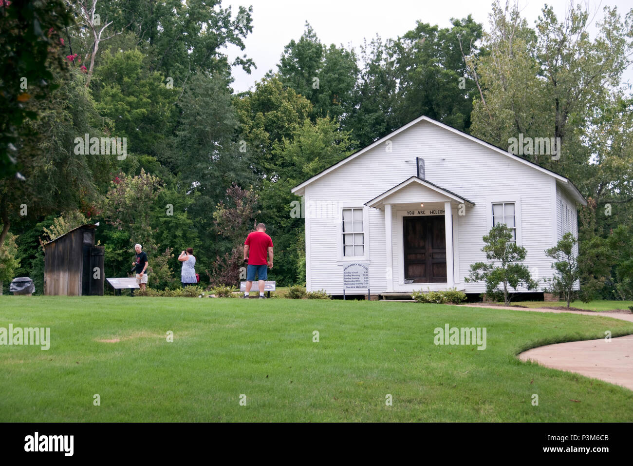 The Assembly of God Church where the Presley family worshiped, at the Elvis Presley Birthplace historic site, Tupelo, Mississippi. - Stock Image