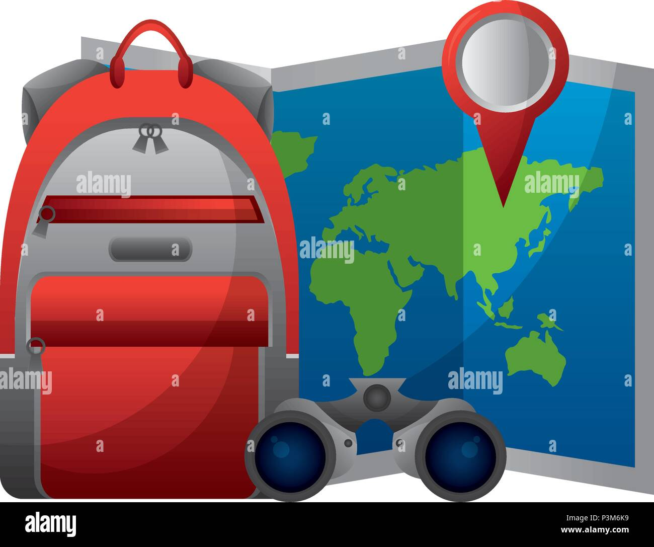 World paper map with binoculars and handbag vector illustration world paper map with binoculars and handbag vector illustration design gumiabroncs Images