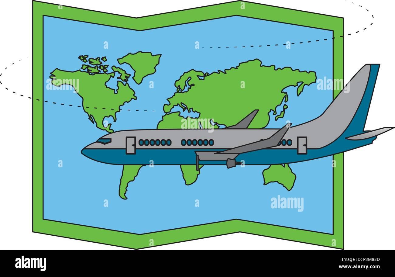 airplane transport travel map world - Stock Image
