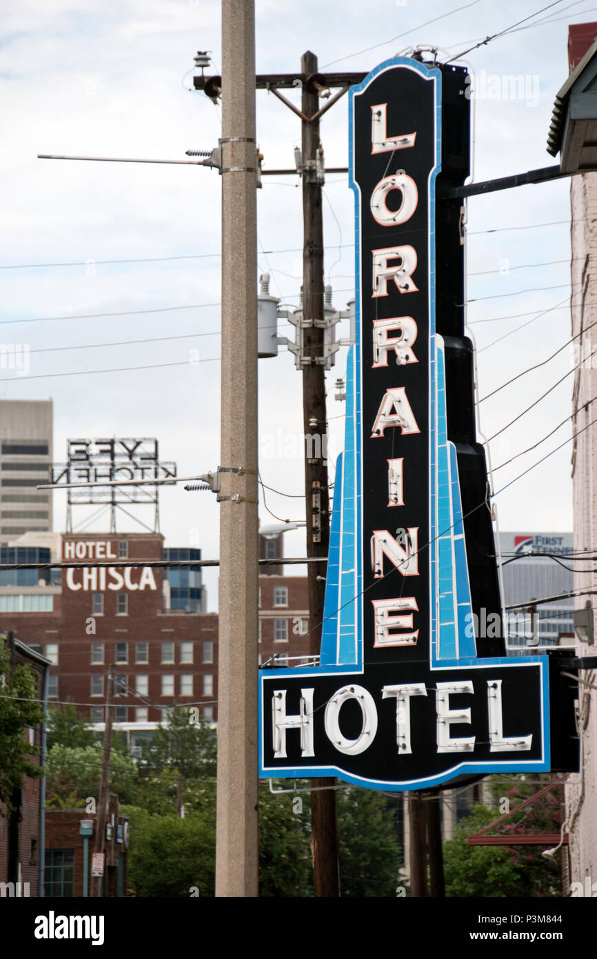 Sign of the former Lorraine Motel, where Martin Luther King was assassinated in 1968, now the National Civil Rights Museum, Memphis, Tennessee. - Stock Image
