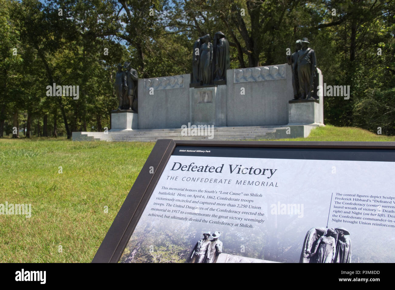 """The Confederate Memorial """"Defeated Victory"""" (erected 1917 / public domain) at Shiloh National Military Park, Shiloh, Tennessee. - Stock Image"""