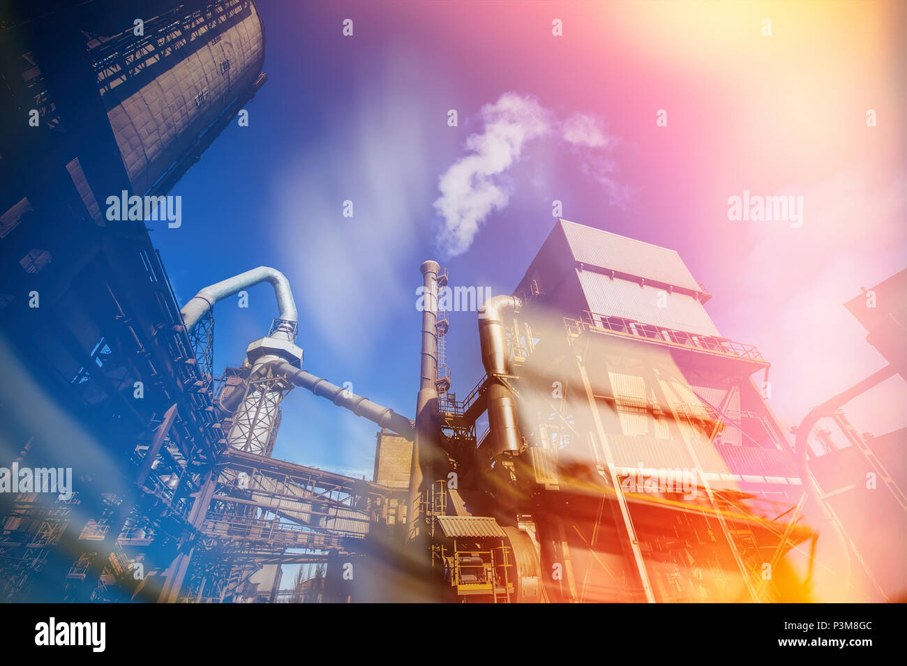 industrial plant for the production of cement. Buildings of a production complex of cement technology. Stock Photo
