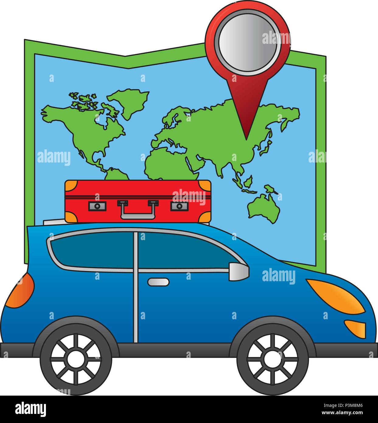 automobile with suitcase on roof navigation map location - Stock Image