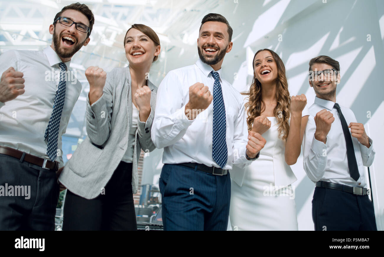 professional business team on the background of a modern office - Stock Image