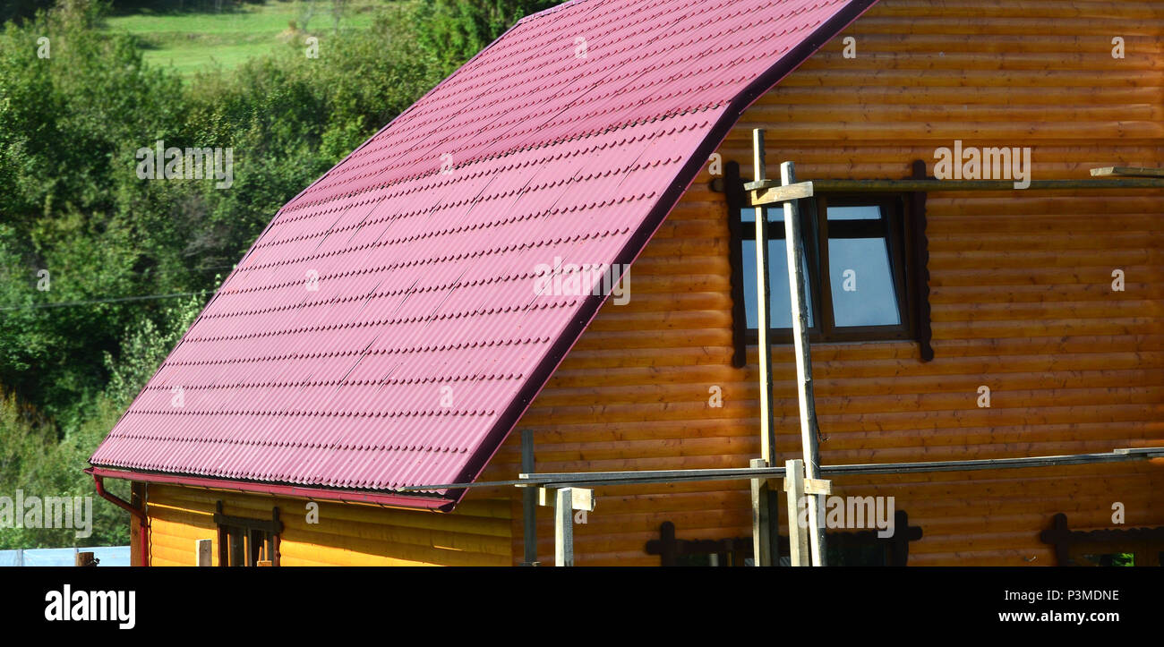 House with a roof made of solid metal sheets, shaped like an old ...