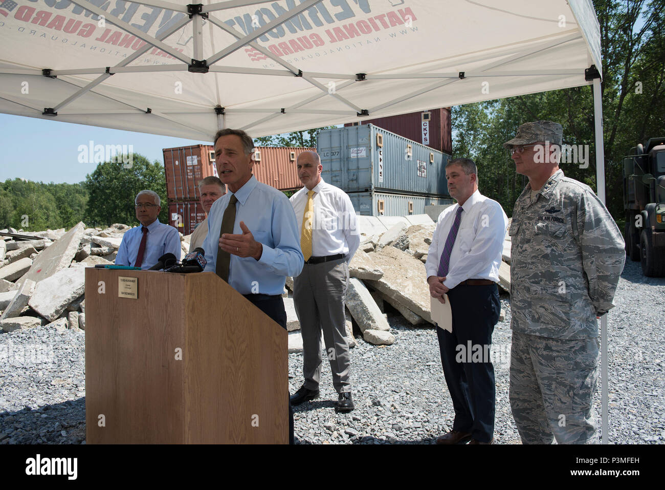 Vermont Governor Peter Shumlin, addresses media during a press conference at Camp Johnson, Colchester, Vt., July 13, 2016. The state of Vermont will be hosting Vigilant Guard 16, a training exercise that enables both state and National Guard resources to respond to multiple, geographically disparate, catastrophic disasters in order to strengthen regional partnerships and validate crisis action plans. (U.S. Air National Guard photo by Tech. Sgt. Sarah Mattison) Stock Photo
