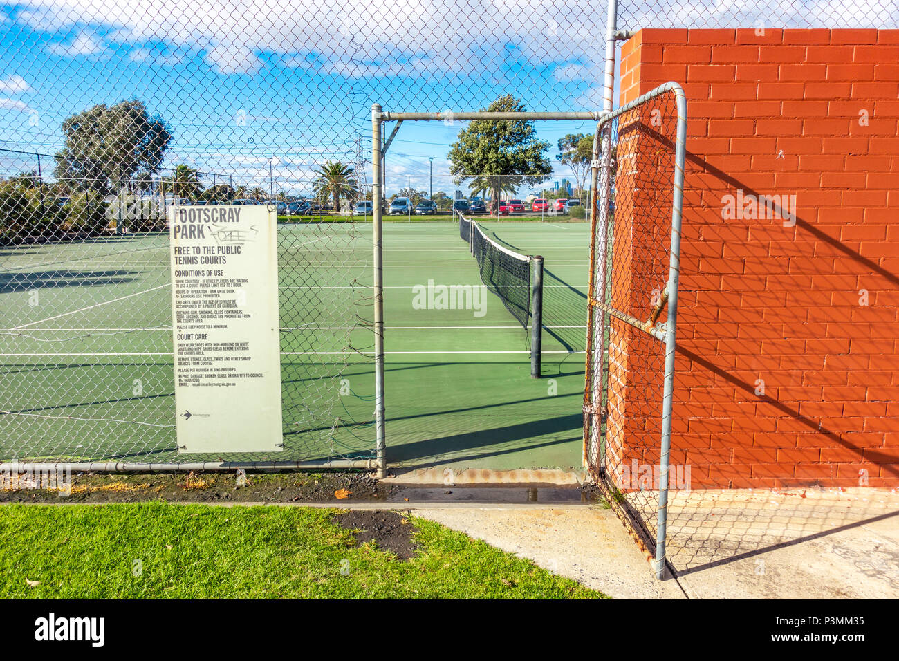 Entrance of free tennis court in Footscray Park. Melbourne, VIC Australia - Stock Image