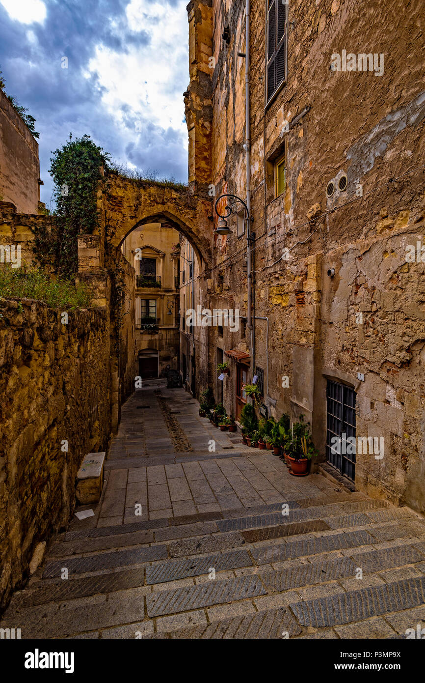 Italy Sardinia Cagliari Castello District ( Casteddu ) Portico Vivaldi Pasqua - Stock Image