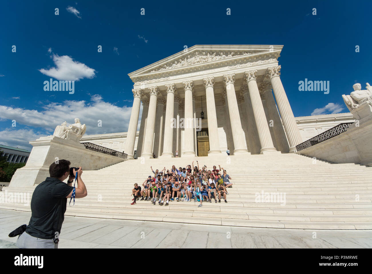 The Supreme Court Building is the seat of the Supreme Court of the Judicial Branch of United States of America. Completed in 1935, it is located in th - Stock Image