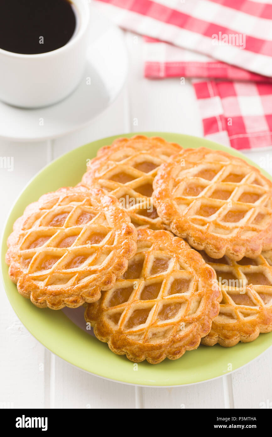 The apple pie cookies on white table. - Stock Image