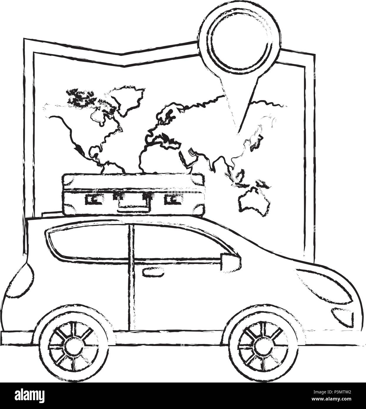 automobile with suitcase on roof navigation map location vector illustration - Stock Image