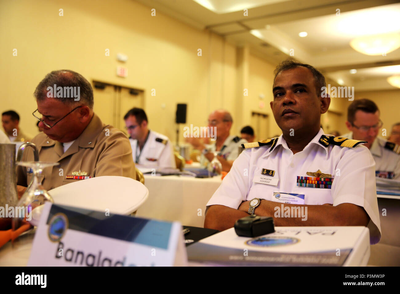 SAN DIEGO Calif. - Commodore Mohammed Abu Ashraf, the Bangladesh Naval aviation commodore, takes part in the Pacific Command Amphibious Leaders Symposium 2016 conference in San Diego, Calif., July 11, 2016. PALS provides senior military leaders with a platform to interact with one another while discussing various ways to conduct military operations. Academic discussions are held to inform one another of the many different capabilities each nation has to offer to support potential missions and objectives. (U.S. Marine Corps photo by Cpl. Demetrius Morgan/ RELEASED) Stock Photo