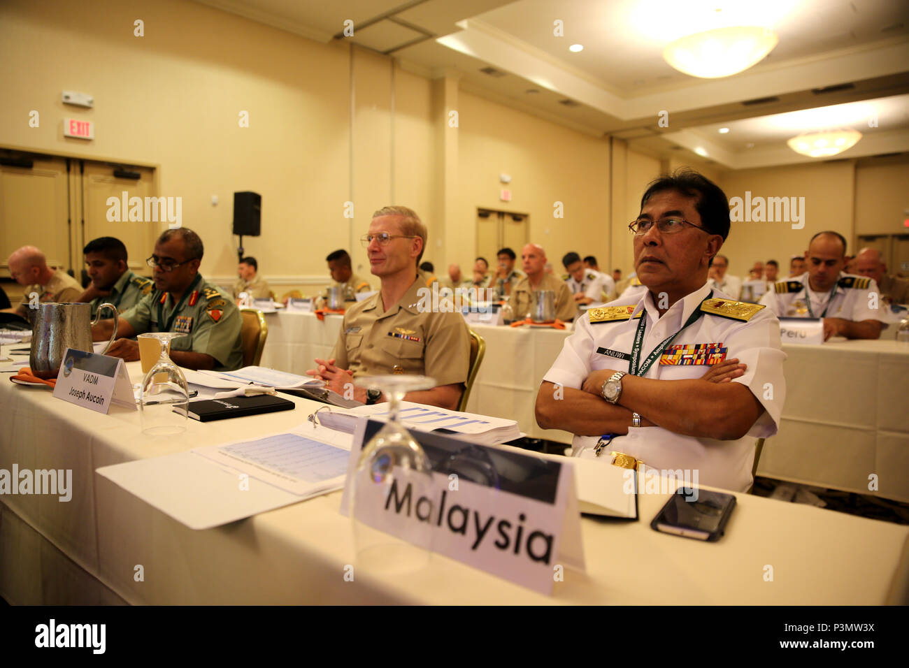 SAN DIEGO Calif. - Vice Admiral Dato Anuwi Bin Hassan, the deputy chief of Navy for the Royal Malaysian Navy, takes part in the Pacific Command Amphibious Leaders Symposium 2016 conference July 11, 2016. During the symposium, military services from around the world will come together to build a closer military-to-military bond with one another. Closer bonds between other military facilitate clear lines of communication and foster a spirit of cooperation to meet potential global challenges. (U.S. Marine Corps photo by Cpl. Demetrius Morgan/ RELEASED) Stock Photo