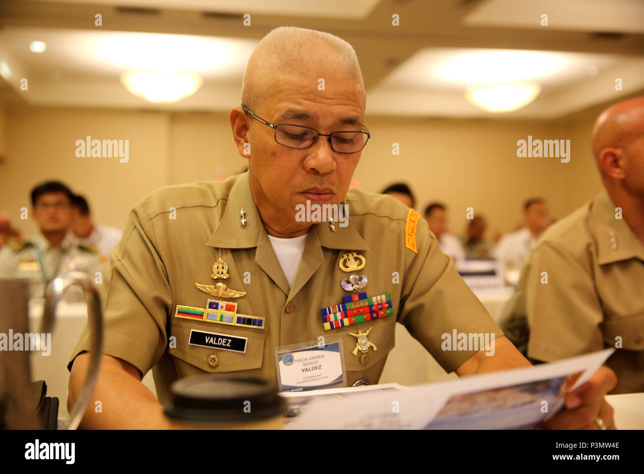 SAN DIEGO Calif. - Major General Remigio Castro Valdez (right), commandant of the Philippine Marine Corps, takes part in  the Pacific Command Amphibious Leaders Symposium 2016 conference in San Diego, Calif.,  July 11, 2016. PALS brings together senior leaders of allied and partner nations throughout the Indo-Asia-Pacific region. The symposium consists of academic and group discussions, a Table-Top Exercise and an amphibious landing demonstration. (U.S. Marine Corps photo by Cpl. Demetrius Morgan/ RELEASED) Stock Photo