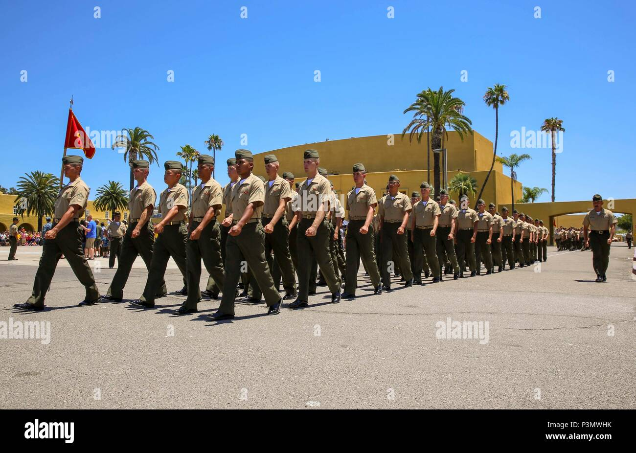 Marines From Echo Company 2nd Recruit Training Battalion March To Meet Families And Friends Prior To